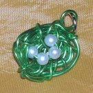 Green Wire Birds Nest Pendant/Charm