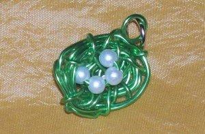 Green Wire Birds Nest Pendant/Charm