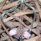 7 1/2 in. Snake Chain Bracelet w/pink beads & heart bead.