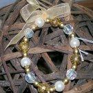 Pearl, Gold & Crystal Bead Stretch bracelet.