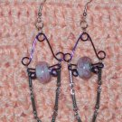 Pink & Blue Dangle Earrings-Free shipping