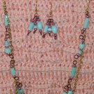 Green N Pink Mother of Pearl, Gold Necklace Set