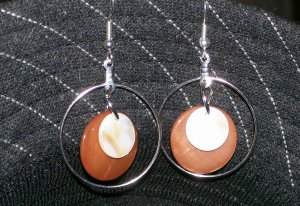 Brown & White Mother of Pearl Earrings