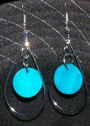 Blue Mother of Pearl Earrings