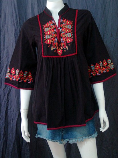 BLACK BOHO FLARED SLEEVES FLORAL EMBROIDERY COTTON TOP