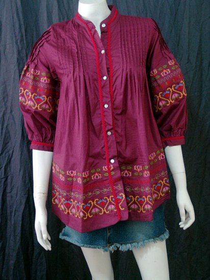 PURPLE FLUFF SLEEVES BOHO FLORAL EMBROIDERY COTTON TOP