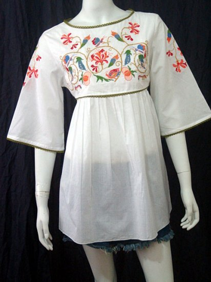 White BABYDOLL BOHO FLARED SLEEVE FLORAL EMBROIDERY TOP