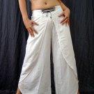 WHITE BELLYDANCE RAYON BOHO GYPSY GENIE HAREM PANTS