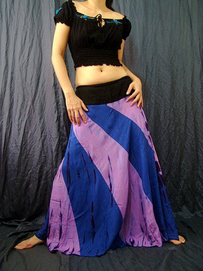 BLUE/PURPLE GYPSY BOHO TIE DYE DRAWSTRING LONG SKIRT
