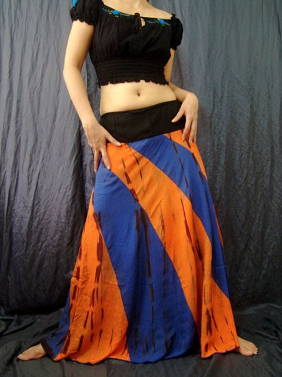 BLUE/ORANGE GYPSY BOHO TIE DYE DRAWSTRING LONG SKIRT