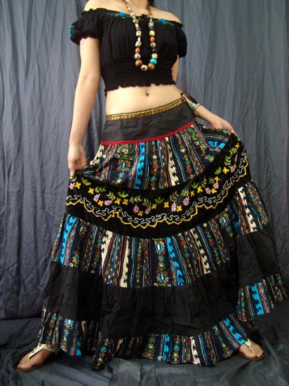 Black Gothic Gypsy Foho Peasant Tiered Printed Drawstring Long Skirt
