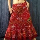 Red Viscose Gypsy Bohemian Ethnic Patchwork Sequins Drawstring Skirt