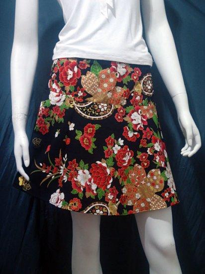 Black Vintage Style Japanese Floral Cotton Short Wraparound Skirt