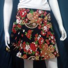 Black Vintage Style Japanese Floral Cotton Short Wraparound Skirt
