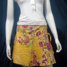 Yellow Vintage Style Japanese Floral Cotton Short Wraparound Skirt