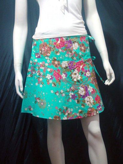 Light Green Vintage Style Japanese Floral Cotton Short Wraparound Skirt
