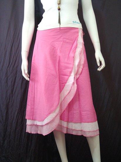 Sweet Pink Tri-layer Knee length Beach Resort Cotton Wrapround skirt / Halter Top