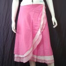 Sweet Pink Tri-layer Knee length Beach Resort Cotton Wrapround skirt / Halter Top