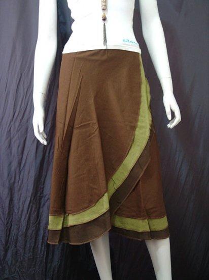 Green Tri-layer Knee length Beach Resort Cotton Wrapround skirt / Halter Top