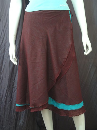 Dark Brown Tri-layer Knee length Beach Resort Cotton Wrapround skirt / Halter Top