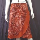 Brown 2-layer Printed Knee length Beach Resort Cotton Wrapround skirt / Halter Top