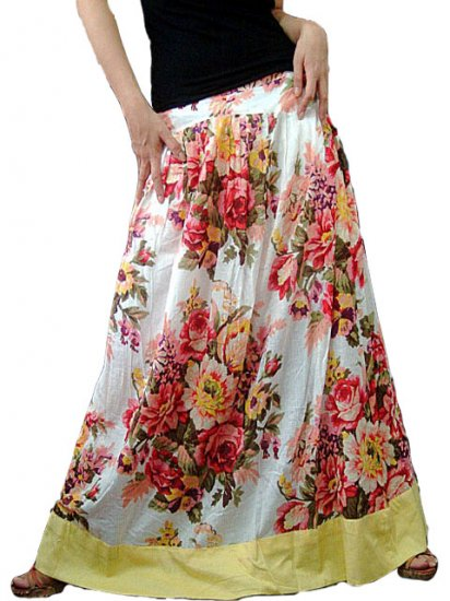 White Cotton Floral Long Skirt