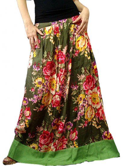 Green Cotton Floral Long Skirt