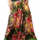 Green Cotton Floral Long Skirt
