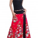 Pink Japanese floral Cotton Wraparound Long Skirt