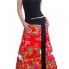 Spicy Red Japanese floral Cotton Wraparound Long Skirt