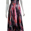 SATIN V-NECK SMOCKED WAIST PRINTED LONG MAXI DRESS