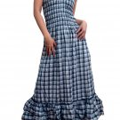 In Style Black Smocked Checks Prints Halter/Tube Maxi Dress