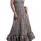 In Style Brown Smocked Checks Prints Halter/Tube Maxi Dress