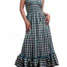 In Style Green Smocked Checks Prints Halter/Tube Maxi Dress