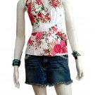 White Cotton Floral V-neck Ruffles Wrap Halter Top / Blouse