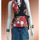 Black Cotton Floral V-neck Ruffles Wrap Halter Top / Blouse