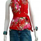 Red Cotton Floral V-neck Ruffles Wrap Halter Top / Blouse