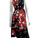 BLACK RUFFLES V-NECK FLORAL HALTER WEDDING WRAP DRESS SZ M to XL