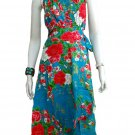BLUE RUFFLES V-NECK FLORAL HALTER WEDDING WRAP DRESS SZ M to XL