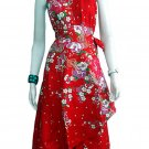 RED RUFFLES V-NECK FLORAL HALTER WEDDING WRAP DRESS SZ M to XL
