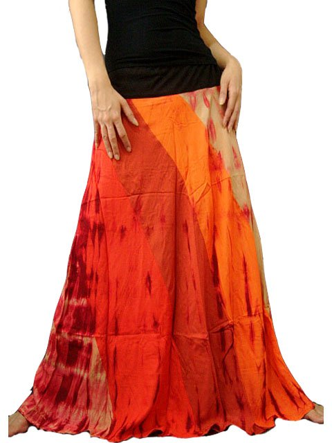 ORANGE GYPSY BOHO TIE DYE DRAWSTRING LONG SKIRT