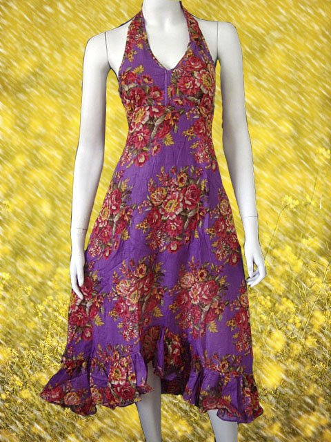 Purple V-neck Garden Floral Halter Cotton Dress