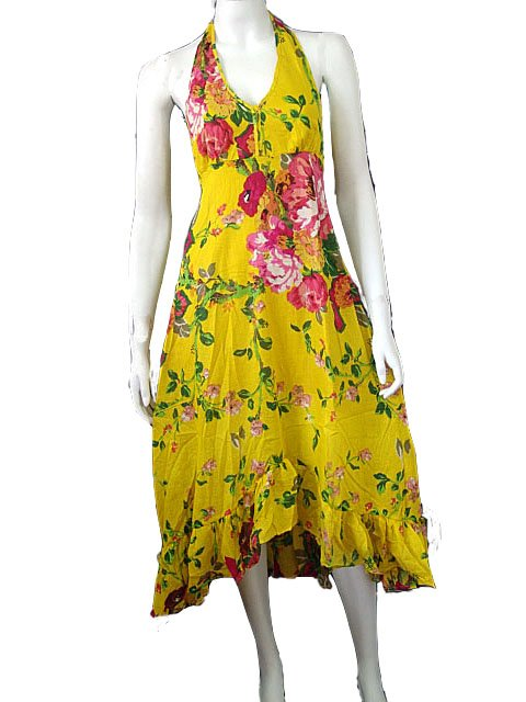 Yellow V-neck Cotton Halter Garden Party Dress