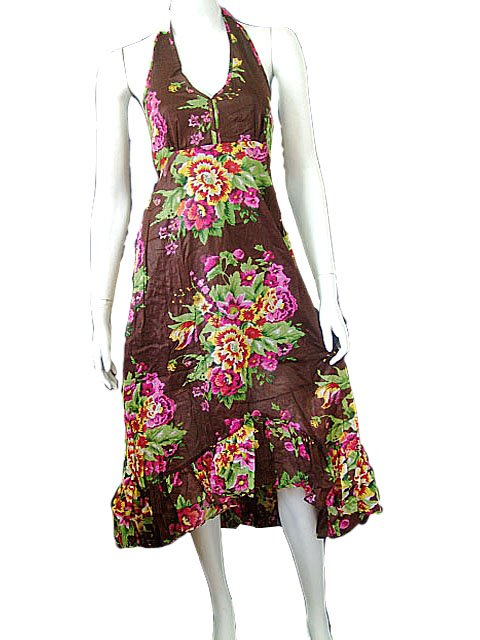 Brown Garden Floral Prints Halter Knee Length Cotton Dress