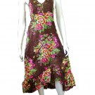Brown Garden Floral Prints Halter Knee Length Cotton Dress