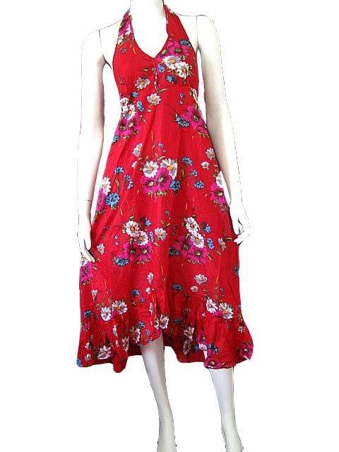 Hot Red Garden Floral Cotton Halter Dress