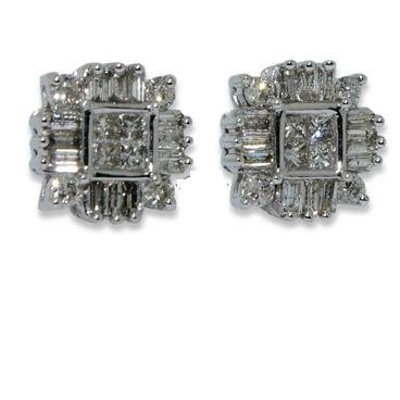 Diamond Earrings - Invisible Setting Square Earring