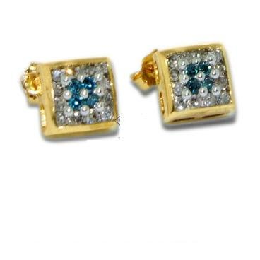 Diamond Earrings - Invisiible White and Blue Diamond Earrings