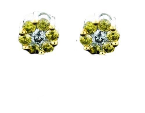 Diamond Earrings- Round Yellow Canary Earring with White Diamond