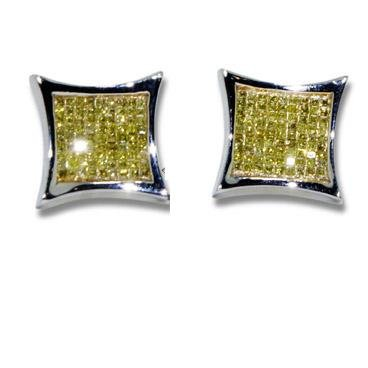 Diamond Earrings - Invisible Setting Square Diamond Earrings - Canary